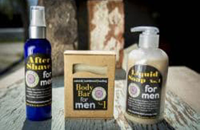All natural mens grooming products card